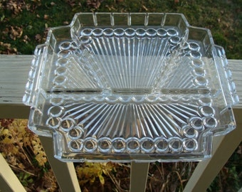 Elegant Clear Glass Divided 4 four part Pickle / Olive Dish or Relish Tray with Handles Early Vintage Squared