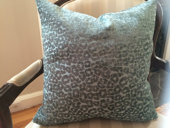 Velvet Animal Print Pillows : Teal velvet leopard print pillow cover with by RocheRonzet on Etsy