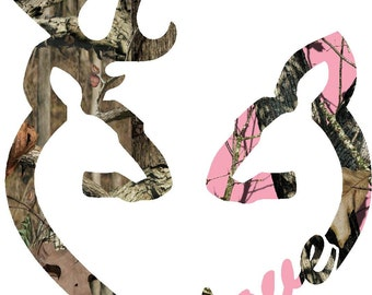 "6"" Browning style camo Buck and pink camo Doe love heart shaped deer buck doe print decal sticker"