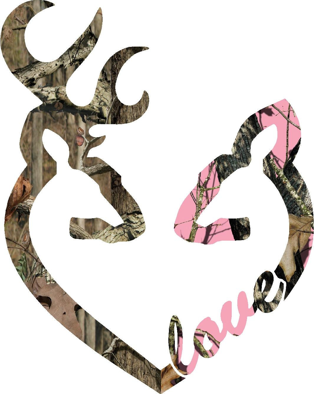 6 browning style camo buck and pink camo doe love heart