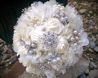 Romantic Ivory Fabric Flower and Brooch Bouquet, Ivory Brooch Bouquet
