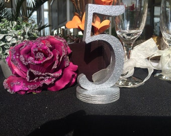 Silver Glitter Table Numbers, wedding reception, Wedding Table Numbers-  Wooden Numbers DIY, Painted, Glittered numbers for table decoration