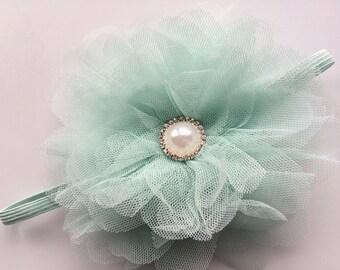 Mint Green Newborn Headband - Large Tulle Flower Headband - Mint Green Flower Head Band for Infant - Boutique Baby Headband Photo Prop