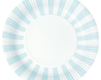 Light Blue Stripe Paper Plates