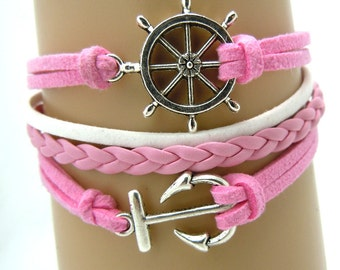 Pink Handmade Leather bracelet, AnchorLeather Bracelet ,Leather Bracelet,Gift Bracelet