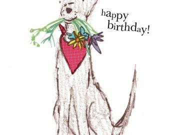 Happy Birthday... Rosie & Radish SCRUFF with Flowers Greeting Card