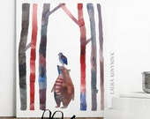 The Bear and the Bird Print -  Print of Watercolour Illustration