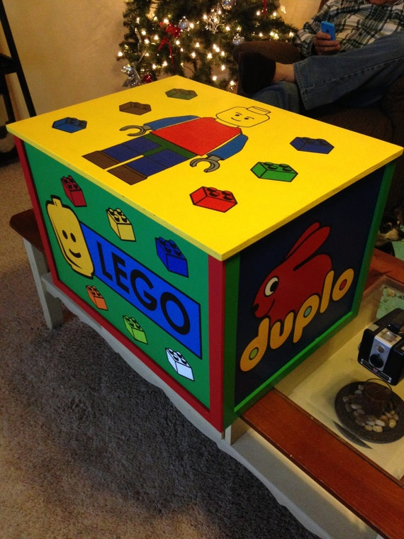 Wooden Lego Toy Box Lego Duplo Wood Toy Box Hand