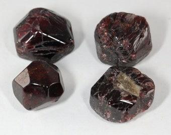 Four Burgundy Red Polished Almandine Garnets