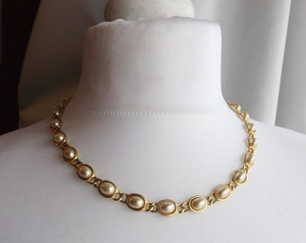Vintage Faux Gold and Pearl Necklace