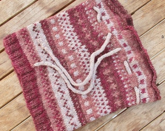 Handspun Handknit Cowl/Hat. Pink/White/Red/Brown Design.