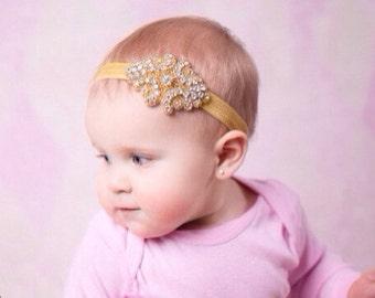 Gold rhinstone headband,flower girl headband,holiday headband,wedding headband,photography prop,hirls headbands,fancy headbands