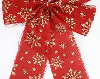 Red Faux Burlap / Jute Bows with wire with gold glitter snowflakes (BRB32-11G) Christmas decorations