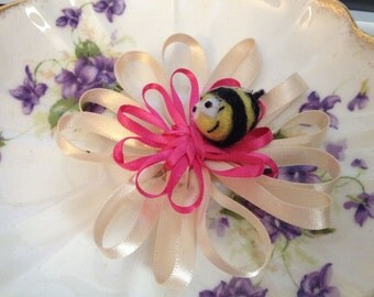 Cream and Pink Flower Brooch with Bumblebee, Flower with bee - brooch