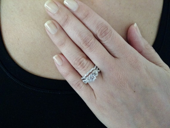 Split Shank Engagement Ring With Wedding Band Infinity Split Shank Diamond Engagement Ring And Wedding Band