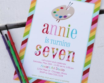 Rainbow- Art Party printable invitation - painting party