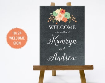 PRINTABLE 18x24 Chalkboard Floral Wedding Welcome Sign - Print Poster Board - Chalk Design