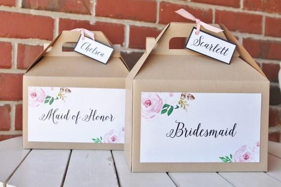 set 12 bridesmaid kraft gable boxes blush pink floral vintage roses calligraphy bridal. Black Bedroom Furniture Sets. Home Design Ideas