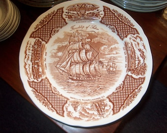 6 Vintage Dinnerware Plates, Fair Winds, Brown (Price for All), WAS 60.00 - 50% = 30.00