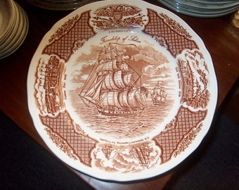 6 Vintage Dinnerware Plates, Fair Winds, Brown (Price for All), WAS 50.00 - 20% = 40.00