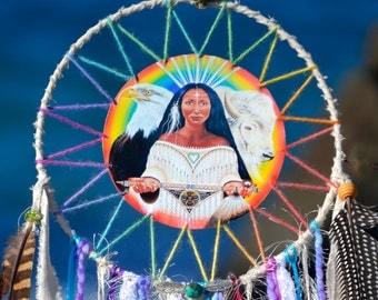 White Buffalo Calf Woman, SpiritArt Mandala, Dreamcatcher, Spirit Guide, Unique, Visionary Art, Dream, Catcher, Soulful Home Decor, Gift.
