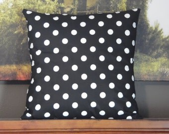 Custom made black and white polka dot pillow cover/sham. Multiple sizes to choose from.