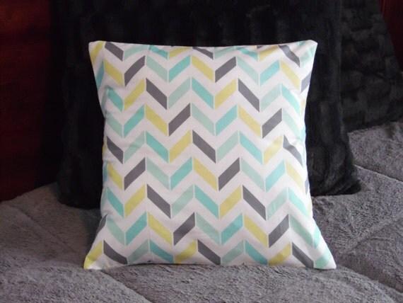 Custom Made Aqua Yellow Gray And White Chevron Pillow By