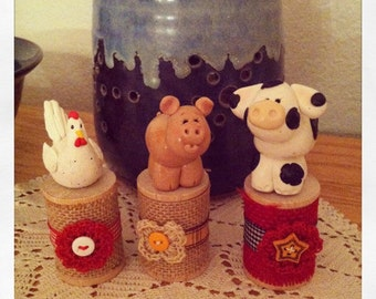 Farm Animal Spool Series, Clay Pig, Clay Chicken, Clay Hen, Clay Cow, Polymer Clay