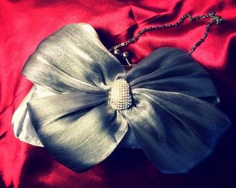 Sliver Satin Cystal Lolita Bow Evening Bag