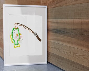 Instant Download ~Fishing Pole With Bass Machine Applique Design~