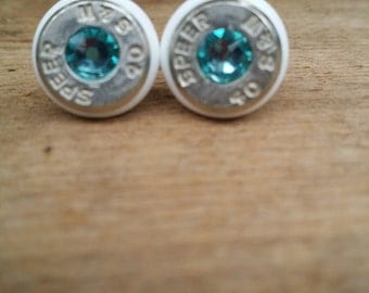 white and turquoise .40 caliber stud earring with color ring