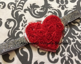 VALETINES HEART HEADBAND, you pick red or pink heart, valentines day headband, girls headband, newborn headband, silver.