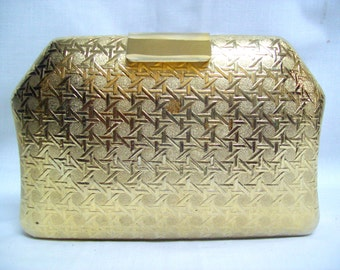 SALE Vintage Saks Fifth Avenue Gold Metal Gilt Clutch Made in Italy Designer Metal Hard Cased Clutch