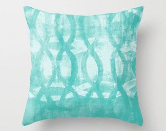 Abstract Throw Pillow Cover Turquoise White Modern Pillow Cover Home Decor Living room bedroom accessories Cushion Decorative Pillow Cover