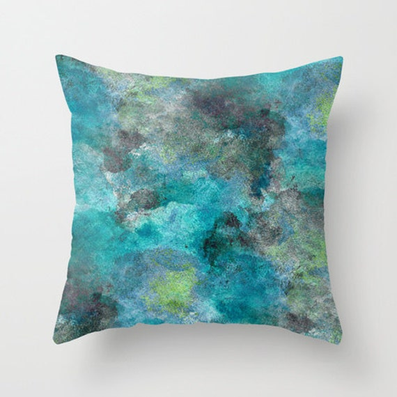 Throw Pillow Cover Teal Turquoise Lime Grey Modern Home Decor