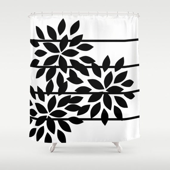 Floral Shower Curtain Striped Black White Abstract Art