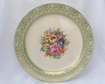 Vintage Ivory Porcelain by Sebring USA Green Ornate Gold Trim Flower Floral Bouquet Dinner Plate Dish