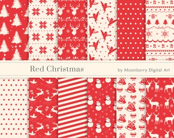 "Red Christmas Digital Papers ""RED CHRISTMAS PAPERS"" Christmas Papers Angels, Deer Digital Papers, Snowflakes, Christmas Tree, Nordic."