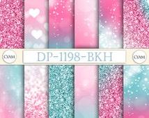 DP-1198-BKH Pink Blue Ombre Digital Paper Princess Queen Glitter: Instant Download. Pink Blye Tie Dye Bokeh Confetti Pattern