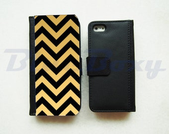Black Gold Chevron Case for iPhone X, iPhone 8/ 8 Plus, iPhone 7, iPhone 6, iPhone 6s, iPhone 6 Plus, iPhone 5/5s, iPhone 4/4s, Wallet Case