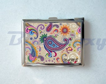 Colorful Paisley Cigarette Case with Lighter, Cigarette Box, Card Holder