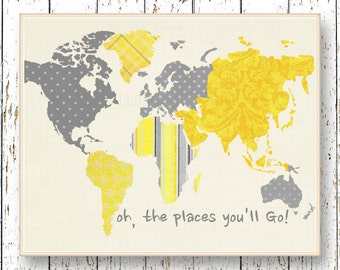 World map art yellow gray Oh, the Places you'll Go! Dr Seuss playroom art print Kids wall art nursery art Boys bedroom art for children