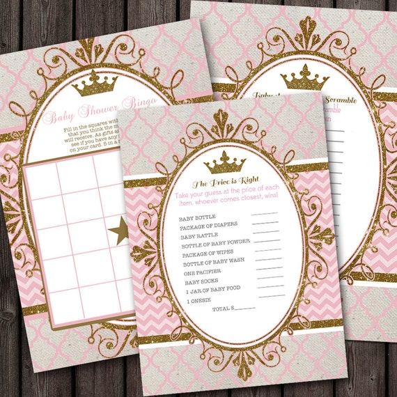 pink gold royal princess baby shower party package banner baby shower