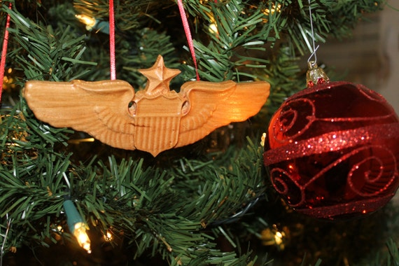 US Air Force, Airforce Senior Pilot  Wings, Christmas Ornament, airforce gifts, carved wood ornaments, Aviation Art, Pilot gifts, pilot gift
