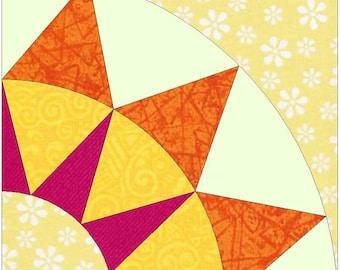 Rising Sun Paper Piece Templates Quilting Block Pattern