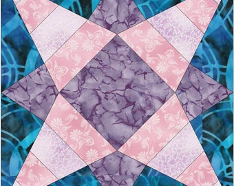 Geometric Star 4 Stripes Paper Piece Template Quilting Block Pattern PDF
