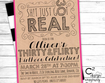 Sh!t Just Got Real 30th Birthday Invitation