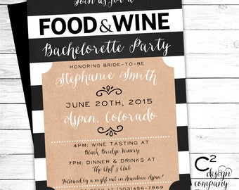 Food & Wine Bachelorette or Birthday Party Invite