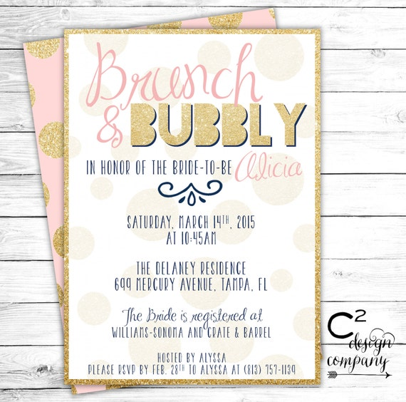 Brunch & Bubbly Blush Bridal Shower Invitation