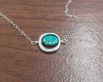 Sterling Silver Necklace with Silver Circle Pendant and Turquoise Magnesite Stone